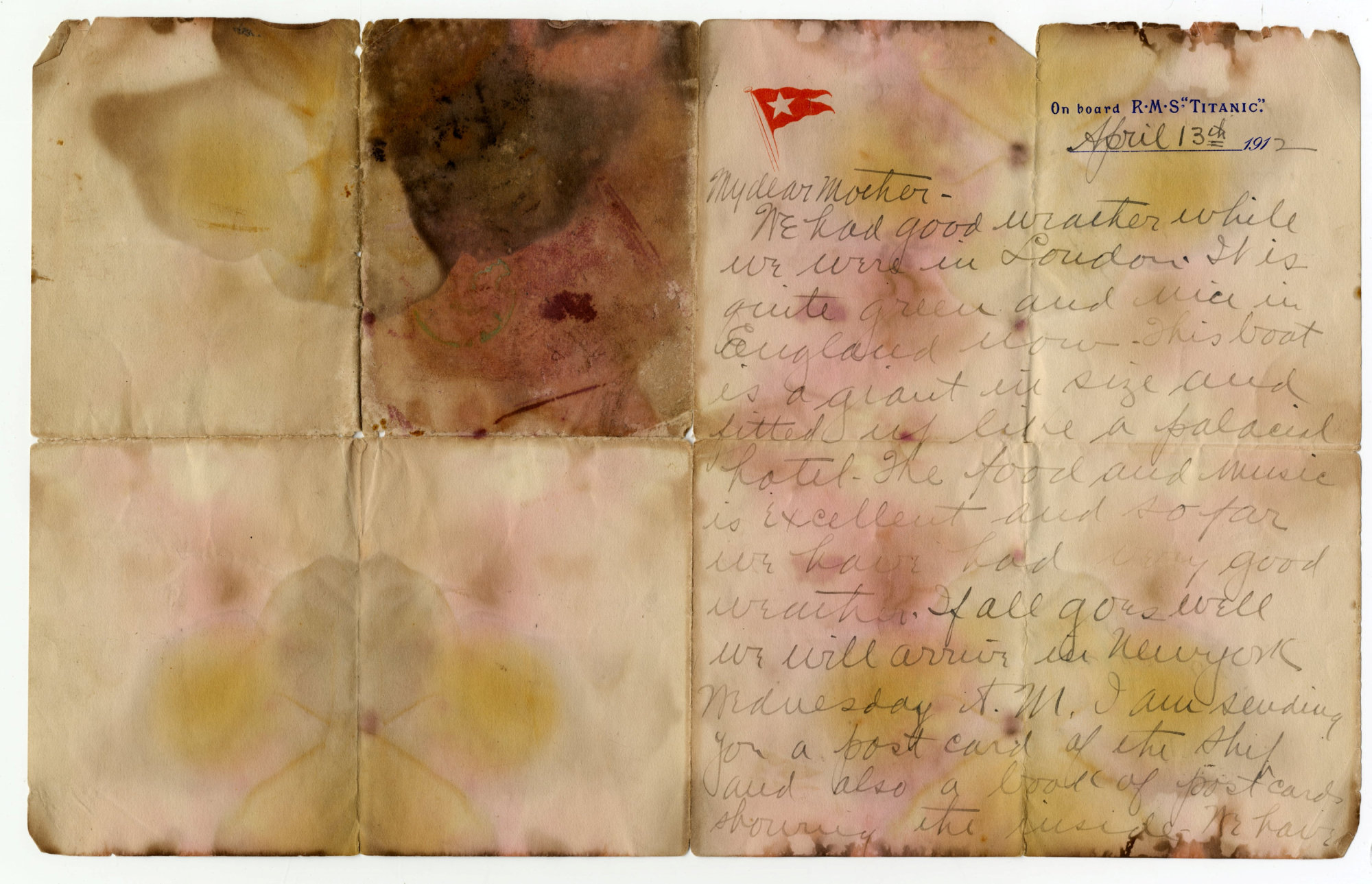 This letter was written on April 13, 1912, and recovered from the body of Alexander Oskar Holverson, a Titanic victim. | HENRY ALDRIDGE