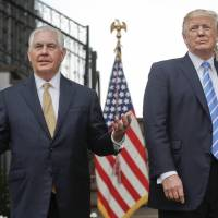 U.S. Secretary of State Rex Tillerson speaks following a meeting with U.S. President Donald Trump at Trump National Golf Club in Bedminster, New Jersey, on Aug. 11. | AP