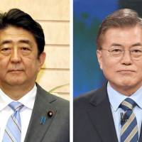 In a Tuesday telephone call, South Korean President Moon Jae-in congratulated Prime Minister Shinzo Abe for his coalition's landslide win in Sunday's Lower House poll. | KYODO, REUTERS