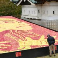 Ukiyo-e master's print remade with 30,000 apples in giant Aomori castle display