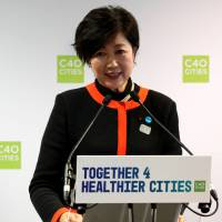 Tokyo Governor Yuriko Koike speaks during a two-day summit of the C40 Cities initiative in Paris on Oct. 23. | REUTERS