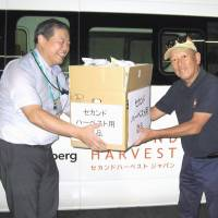 An official (left) at the Ito Yokado Hikifune store hands over a box of food for donation to a member volunteer of nonprofit food bank Second Harvest Japan in Tokyo's Sumida Ward. | KYODO