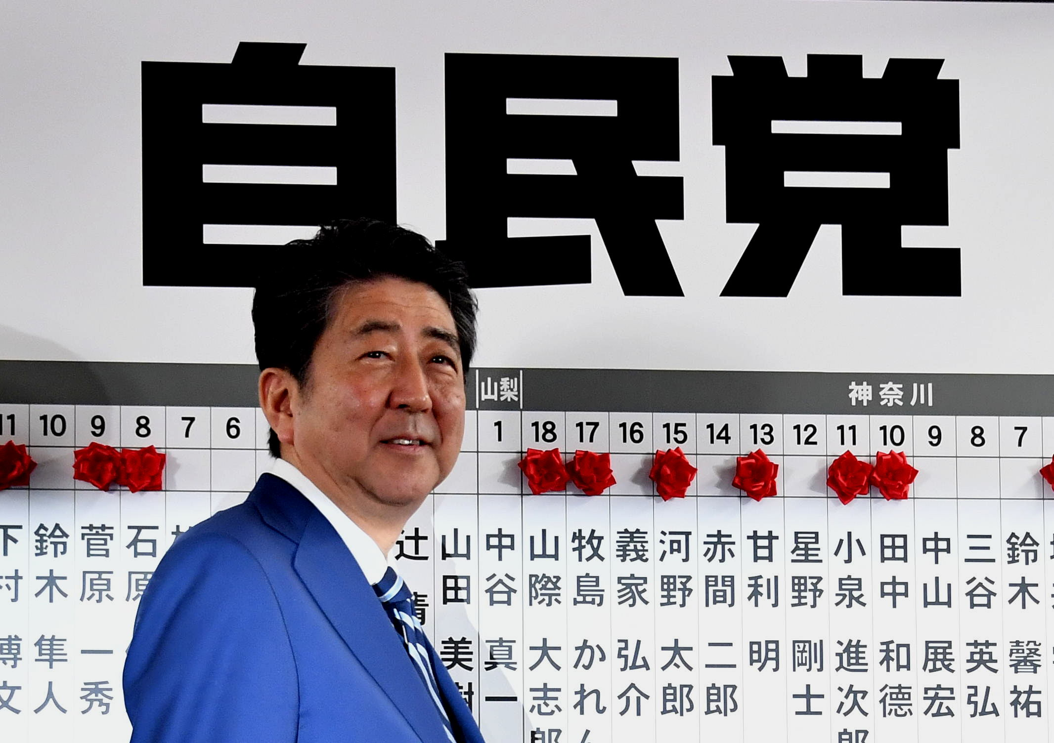 Prime Minister Shinzo Abe smiles before a board of candidates with paper roses who won their seats on Sunday at the Liberal Democratic Party headquarters in Tokyo. | YOSHIAKI MIURA