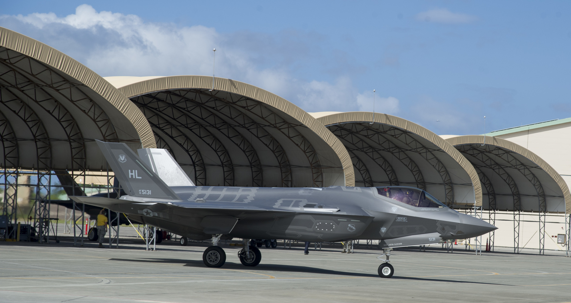 A U.S. Air Force F-35 stealth fighter jet taxis for takeoff at Joint Base Pearl Harbor-Hickam, Hawaii, on Oct. 13. | 15TH WING PUBLIC AFFAIRS
