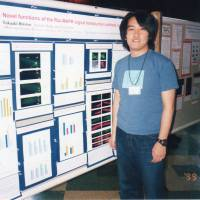 Takaaki Hirotsu makes a presentation about his nematode research at an academic conference in the United States in 1999. | COURTESY OF TAKAAKI HIROTSU