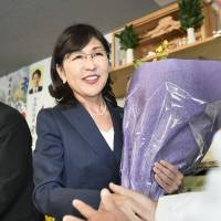 Scandal-hit former Defense Minister Tomomi Inada emerges as the winner in her Fukui No. 1 district following Sunday's Lower House election. | KYODO