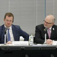New International Paralympic Committee President Andrew Parsons (center) faces the media in Tokyo on Thursday at the start of a two-day review of preparations for the 2020 Tokyo Paralympics. | KYODO