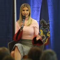 White House senior adviser Ivanka Trump speaks during a town hall meeting in Richboro, Pennsylvania, on Monday. | AP