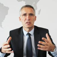 Jens Stoltenberg, secretary-general of the North Atlantic Treaty Organization, is interviewed at NATO headquarters in Brussels. | KYODO