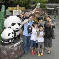 Visitors to Tokyo's Ueno Zoo have their photos taken on June 13, a day after a giant panda cub was born. The zoo is considering banning smoking on the premises before December, when the cub is expected to make its public debut.   KYODO