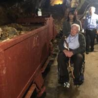 Henry Chamberlain visits earlier this month the former Hosokura lead and zinc mine where he was sent as a prisoner of war after being captured by the Imperial Japanese Army in the Philippines in the 1940s. | COURTESY OF REBECCA CHAMBERLAIN