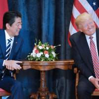 U.S. President Donald Trump takes part in a bilateral meeting with Prime Minister Shinzo Abe at the Villa Diodoro on the sidelines of the Group of Seven summit in May in Taormina, Sicily. | AFP-JIJI