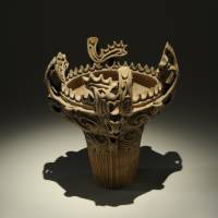 'Flame-rimmed Deep Vessel' (Jomon Period, 3,500-2,500 B.C.), excavated from the Sasayama site, Niigata Prefecture. CITY OF TOKAMACHI, NIIGATA (KEPT IN THE TOKAMACHI CITY MUSEUM); SECTION: ARCHAEOLOGICAL RELICS