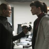 Showdown: Robin Wright's hard as nails police lieutenant squares off against Sylvia Hoeks' character, Luv.