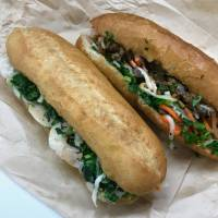 The real deal: Chili-mayo-shrimp and grilled beef banh mi sandwiches at Banh Mi Bakery. | ROBBIE SWINNERTON