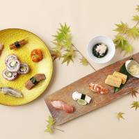 Sushi and other savory treats are offered at Washoku Souten on the 35th floor of the hotel.