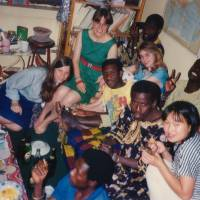International students party in Sacko's dorm at Southeast University.