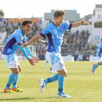 Kazuyoshi Miura performs the 'Kazu Dance' after scoring at age 50 on March 12. | KYODO