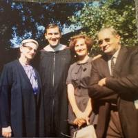 The Meschery family, Tom (second from left) with his parents Maria and and Nicholas and sister Ann, are seen in June 1961 at Tom's graduation from Saint Mary's College in Moraga, California. | TOM MESCHERY