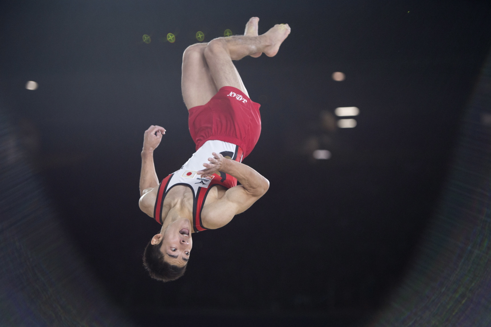 Kenzo Shirai flips during his floor exercise at the artistic world gymnastics championships in Montreal on Saturday. | AP