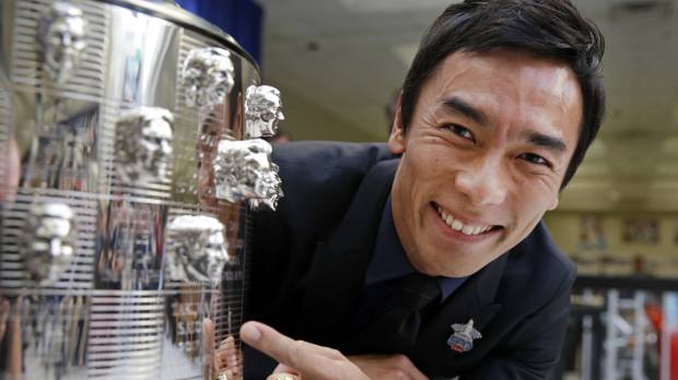 Takuma Sato happy to see face on Indy 500 trophy