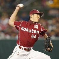 Tohoku Rakuten reliever Hiroyuki Fukuyma pitches against Seibu in the seventh inning of Game 3 of the Pacific League Climax Series First Stage on Monday at MetLife Dome. | KYODO