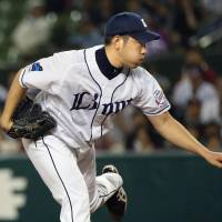 Lions southpaw Yusei Kikuchi fanned nine batters in eight innings in Tuesday's game against the Eagles at MetLife Dome. Seibu defeated Tohoku Rakuten 10-3. | KYODO