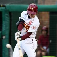 The Eagles' Eigoro Mogi goes 4-for-4, including two doubles and a triple, on Tuesday at Kobo Park against the Marines. Tohoku Rakuten defeated Chiba Lotte 5-0. | KYODO