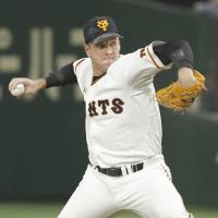 Reliever Scott Mathieson is currently in his sixth season in Japan with Yomiuri. | KYODO