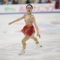 Wakaba Higuchi skates in the short program at the Cup of Russia in Moscow on Friday night. Higuchi is in third place heading into Saturday's free skate. | AP