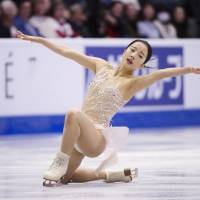 Marin Honda performs in the short program at Skate Canada on Friday. Honda is in 10th place heading into Saturday's free skate. | AP