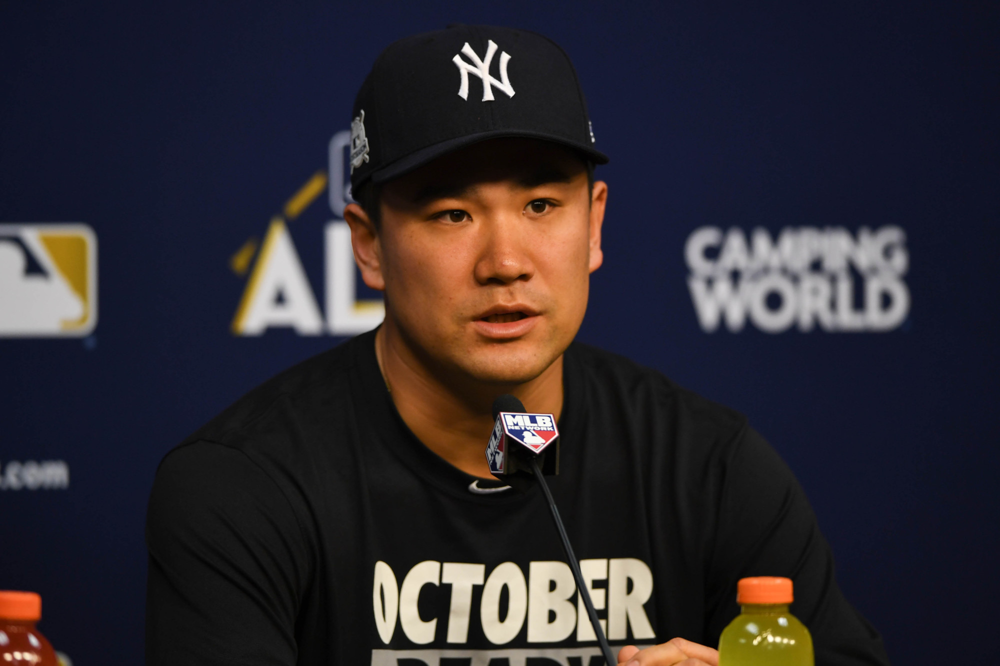 Yankees hurler Masahiro Tanaka speaks to reporters on Thursday in Houston. | USA TODAY / VIA REUTERS