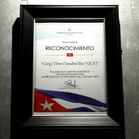 A certificate issued by the Cuban Embassy in recognition of authentic mojito preparation
