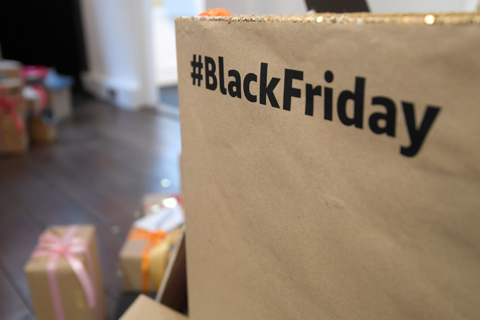 A hashtag is displayed inside Amazon's Black Friday pop-up space in London Tuesday. | REUTERS