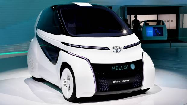 The Toyota Concept-i Ride, an EV concept car, is showcased at the Tokyo Motor Show 2017 last week. Toyota is trying to get ahead of the pack in solid-state battery technology, a next-generation, high-capacity energy storage device.