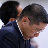 Nissan Motor Co. Chief Executive Hiroto Saikawa attends a news conference at the company headquarters in Yokohama on Friday. | REUTERS