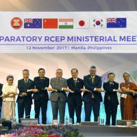 Ministers in charge of the China-led Regional Comprehensive Economic Partnership trade framework attend a preparatory meeting Sunday in Manila. | KYODO