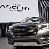 Subaru's Ascent sport utility vehicle concept sits on display after being unveiled during the 2017 New York International Auto Show in April. The carmaker is debuting the model at this week's Los Angeles Auto Show amid a growth spurt that's been the envy of the auto industry.   BLOOMBERG