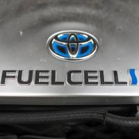 The hydrogen fuel cell sits inside the engine of a Mirai hydrogen fuel powered automobile, manufactured by Toyota Motor Corp., at Royal Dutch Shell Plc's first U.K. hydrogen refueling station in Cobham, U.K., on Feb. 22. | BLOOMBERG