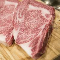Wagyu beef steaks are seen on a platter at a restaurant in Tokyo. | BLOOMBERG