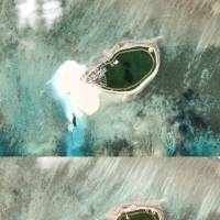 This combination of satellite photos show Chinese-controlled Tree Island, part of the Paracel Islands group in the South China Sea, in 2015 (top) and on Oct.12. | PLANET LABS / HANDOUT / VIA REUTERS