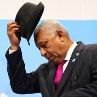 Fijian Prime Minister Frank Bainimarama, president of the 2017 United Nations Climate Change Conference, arrives for the final session in Bonn on Saturday. | REUTERS