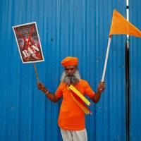 A demonstrator is seen during a protest against the release of the upcoming Bollywood movie 'Padmavati' in Bangalore, India, on Wednesday. | REUTERS