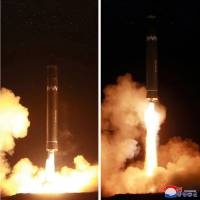 A Hwasong-15 missile, which North Korea says can reach any part of the U.S., is launched from a site just north of Pyongyang early Wednesday. | AFP-JIJI