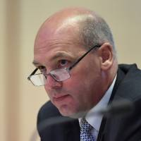 Stephen Parry speaks during a Senate Estimates Committee meeting at the Parliament House in Canberra, Australia, in February 2016. | AP