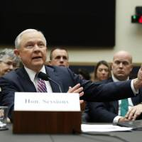 U.S. Attorney General Jeff Sessions testifies before a House Judiciary Committee hearing on oversight of the Justice Department on Capitol Hill in Washington Tuesday. | REUTERS