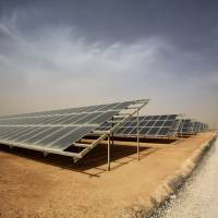 A general view shows part of a new €15 million solar plant, funded by the German government, that emits some 12.9 megawatts during its official inauguration at the Zaatari refugee camp on Monday in Jordan. | AFP-JIJI