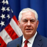 U.S. Secretary of State Rex Tillerson speaks to staff members at the U.S. Mission to the U.N. in Geneva Oct. 26. | REUTERS
