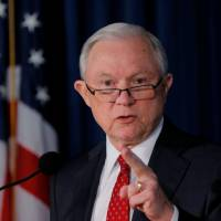 U.S. Attorney General Jeff Sessions makes a statement regarding national security in New York on Thursday. | REUTERS