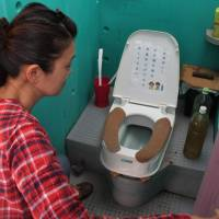 A lavatory for women on a farm in Nabari, Mie Prefecture, is too small for many people with disabilities to use. | CHUNICHI SHIMBUN